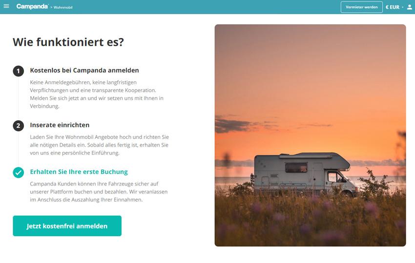 Campanda – Wohnmobil vermieten und Geld verdienen
