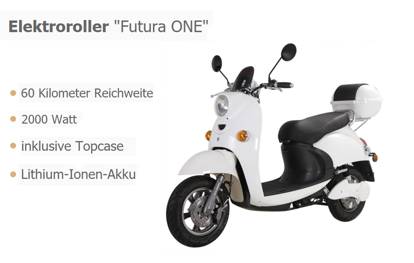 Futura ONE Elektroroller: Innovation mit 2000 Watt