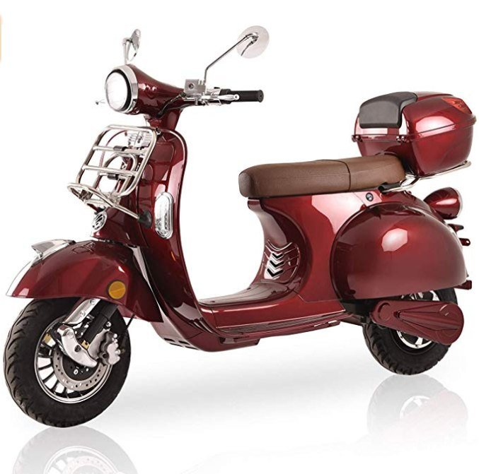 Elektroroller Classico, 3000 Watt, E-Scooter, Elektro-Roller, E-Roller mit Straßenzulassung, Retro Roller 45 km/h, fest verbauter Blei-Gel-Akku, Produktvideo, Bordeaux Rot