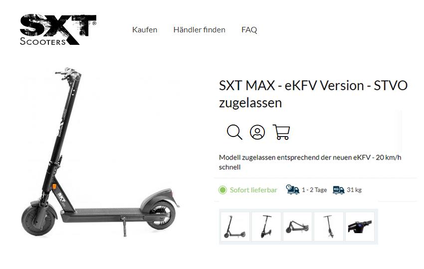 SXT Scooter mit Straßenzulassung - MAX eKFV im Test - Daten, Features, Preis