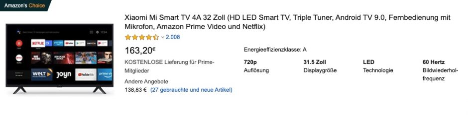 Xiaomi Smart Tv 32 Zoll